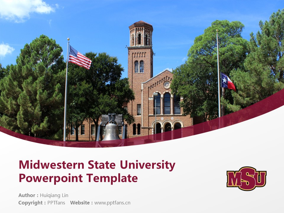 Midwestern State University Powerpoint Template Download | 中西州立大学PPT模板下载_幻灯片1