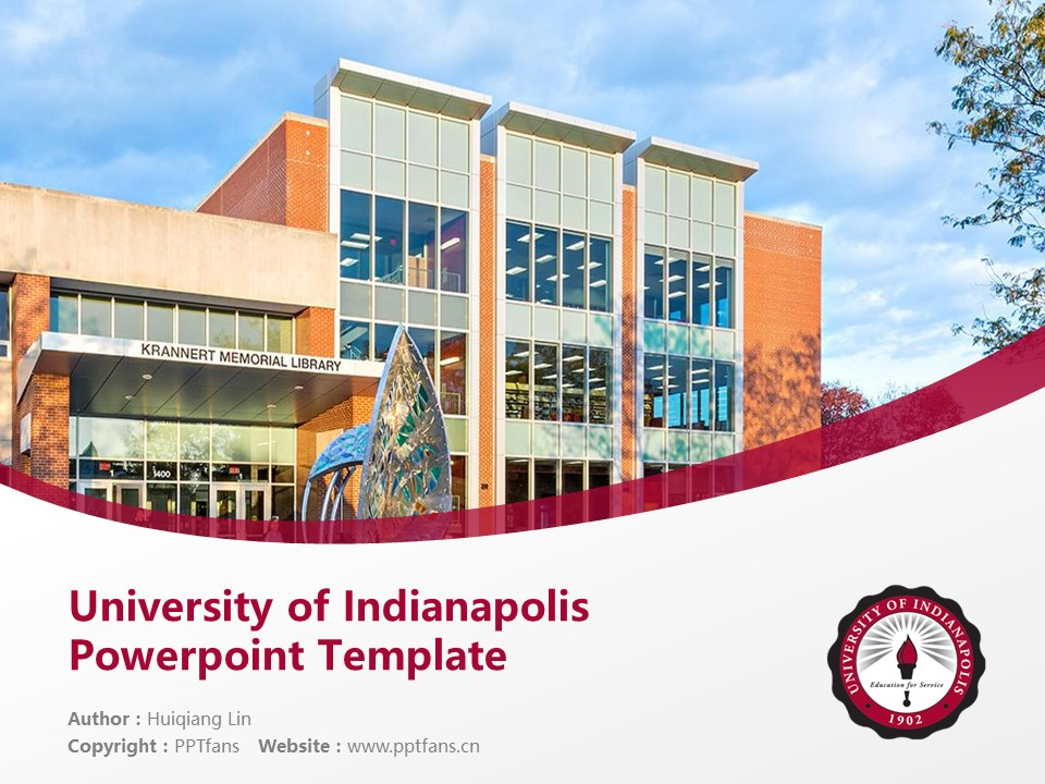 University of Indianapolis Powerpoint Template Download | 印第安纳波利斯大学PPT模板下载_slide1