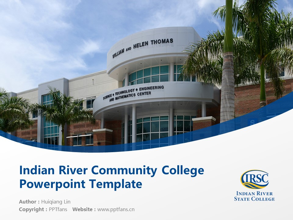Indian River Community College Powerpoint Template Download | 印第安河社区学院PPT模板下载_幻灯片1