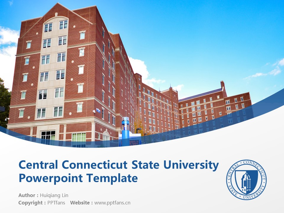 Central Connecticut State University Powerpoint Template Download | 中康涅狄格州立大学PPT模板下载_slide1
