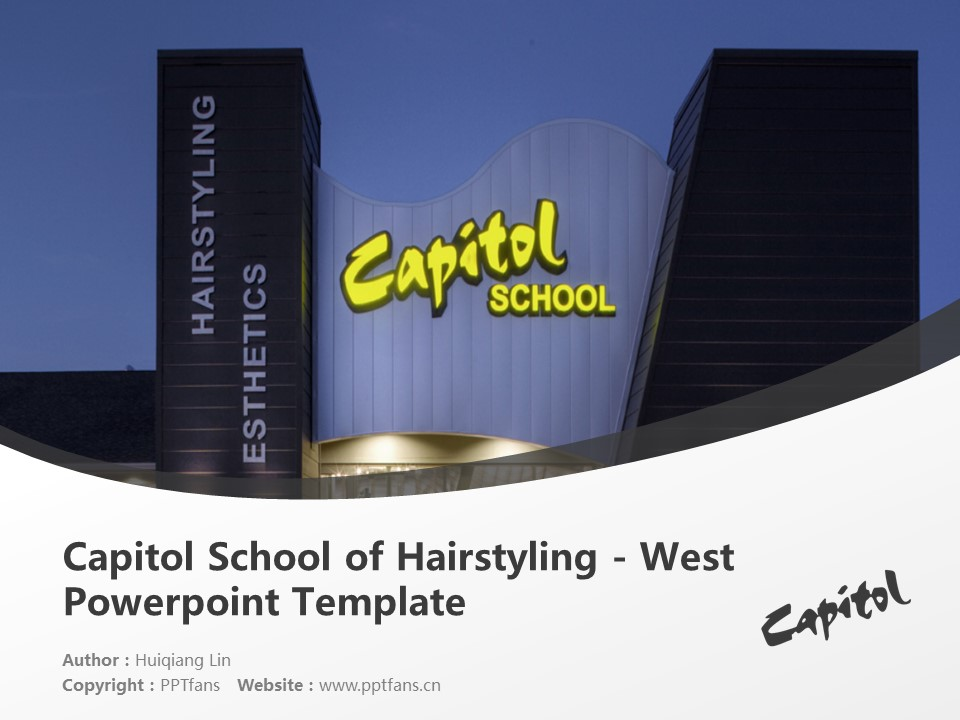Capitol School of Hairstyling – West Powerpoint Template Download | 国会发型学校PPT模板下载_slide1