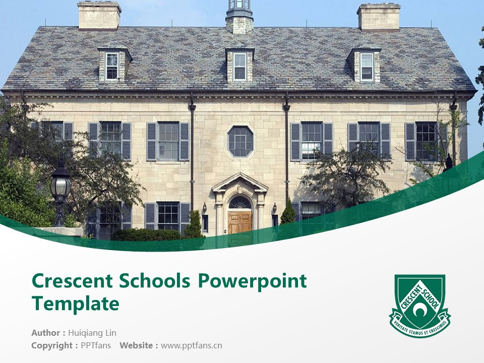 Crescent Schools Powerpoint Template Download | 新月学校PPT模板下载_幻灯片1