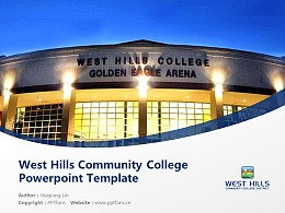 West Hills Community College Powerpoint Template Download   西山社区学院PPT模板下载