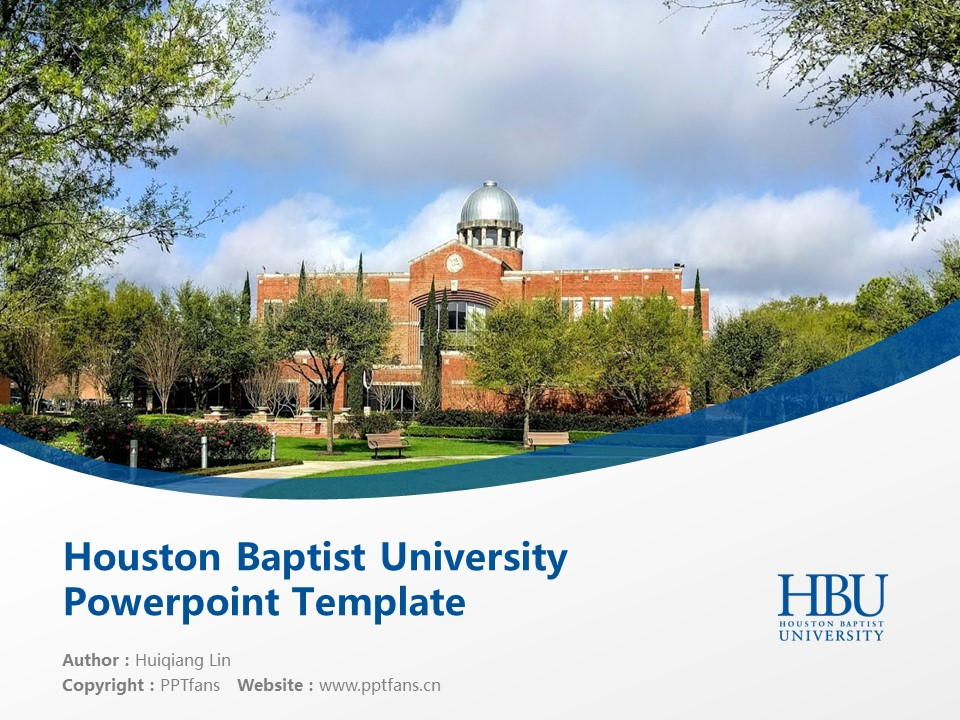 Houston Baptist University Powerpoint Template Download | 休斯顿浸会大学PPT模板下载_幻灯片1
