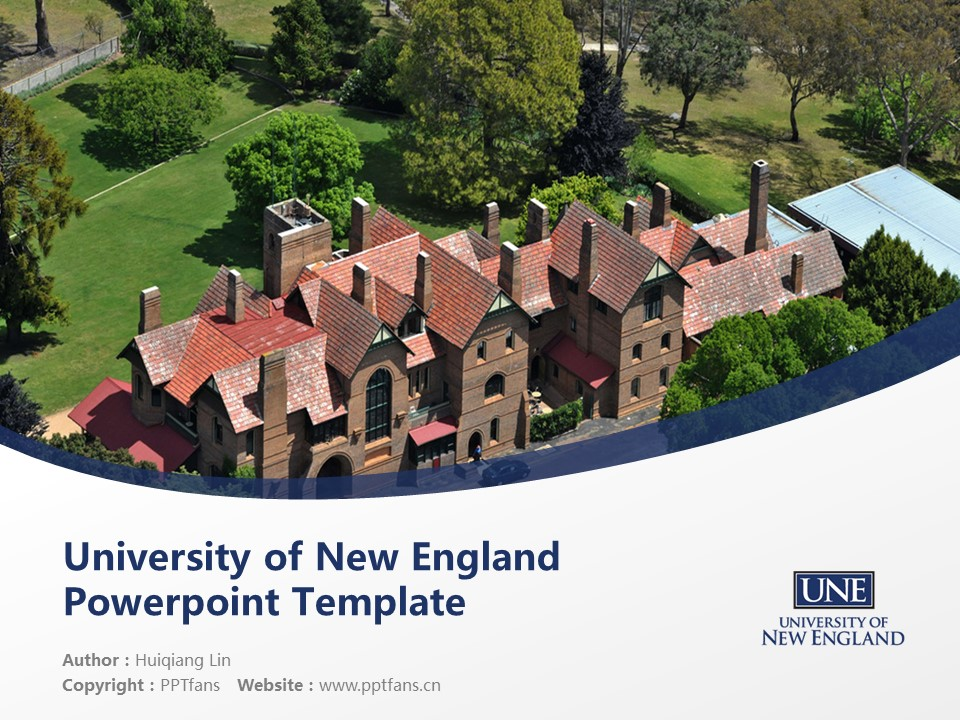 University of New England Powerpoint Template Download | 新英格兰大学PPT模板下载_幻灯片1