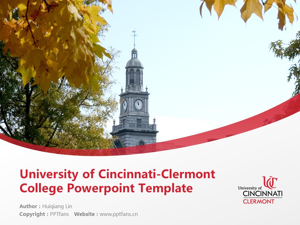 University of Cincinnati-Clermont College Powerpoint Template Download | 辛辛那提大学克莱尔芒特学院PPT模板下载_幻灯片预览图1