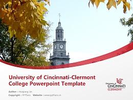 University of Cincinnati-Clermont College Powerpoint Template Download   辛辛那提大学克莱尔芒特学院PPT模板下载