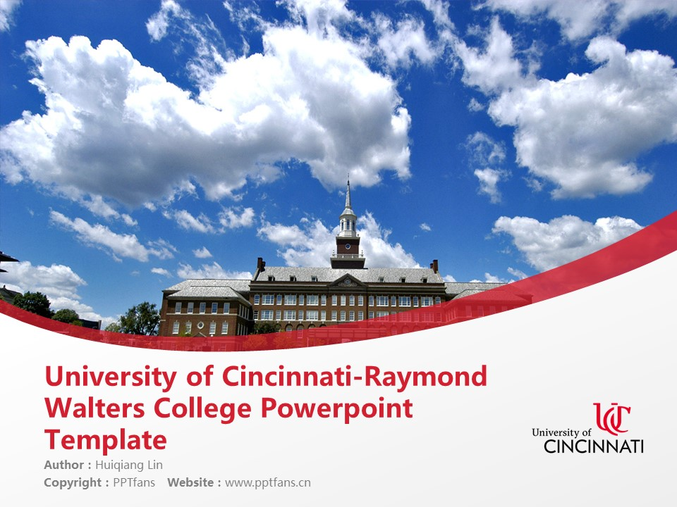 University of Cincinnati-Raymond Walters College Powerpoint Template Download | 辛辛那提大学-雷蒙德沃尔特斯学院PPT模板下载_幻灯片1