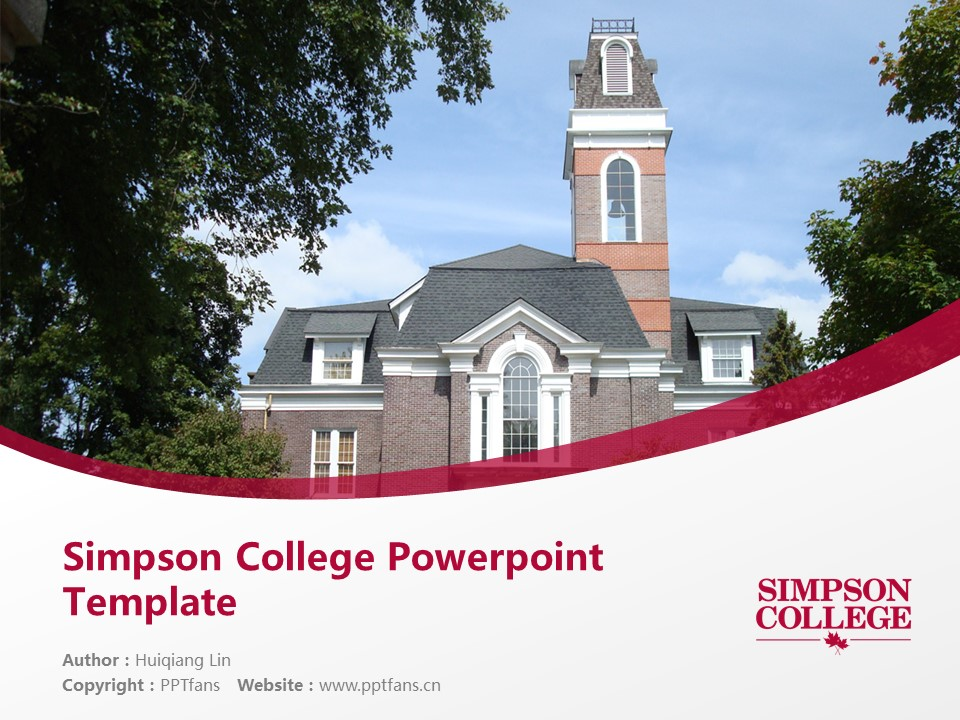 Simpson College Powerpoint Template Download | 辛普森学院PPT模板下载_slide1