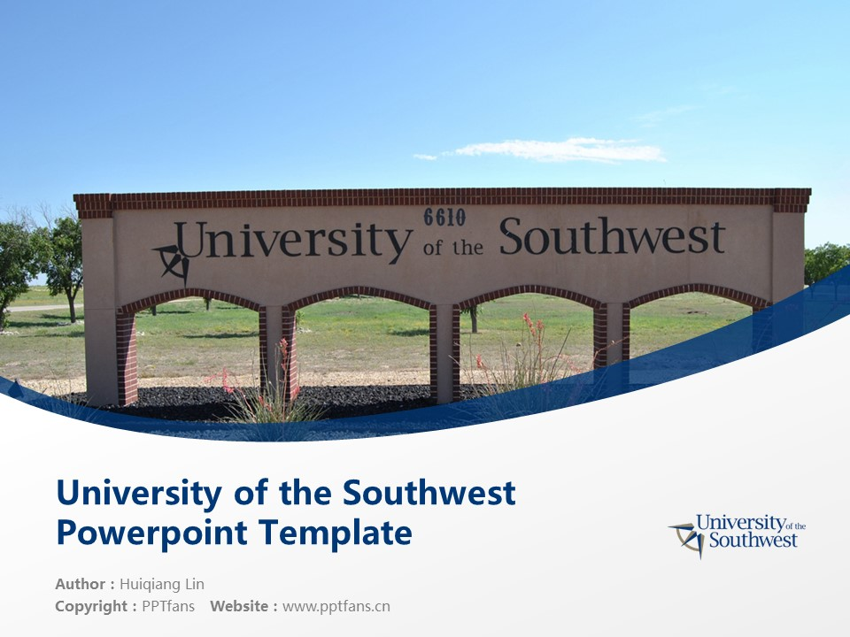 University of the Southwest Powerpoint Template Download | 西南学院PPT模板下载_幻灯片1