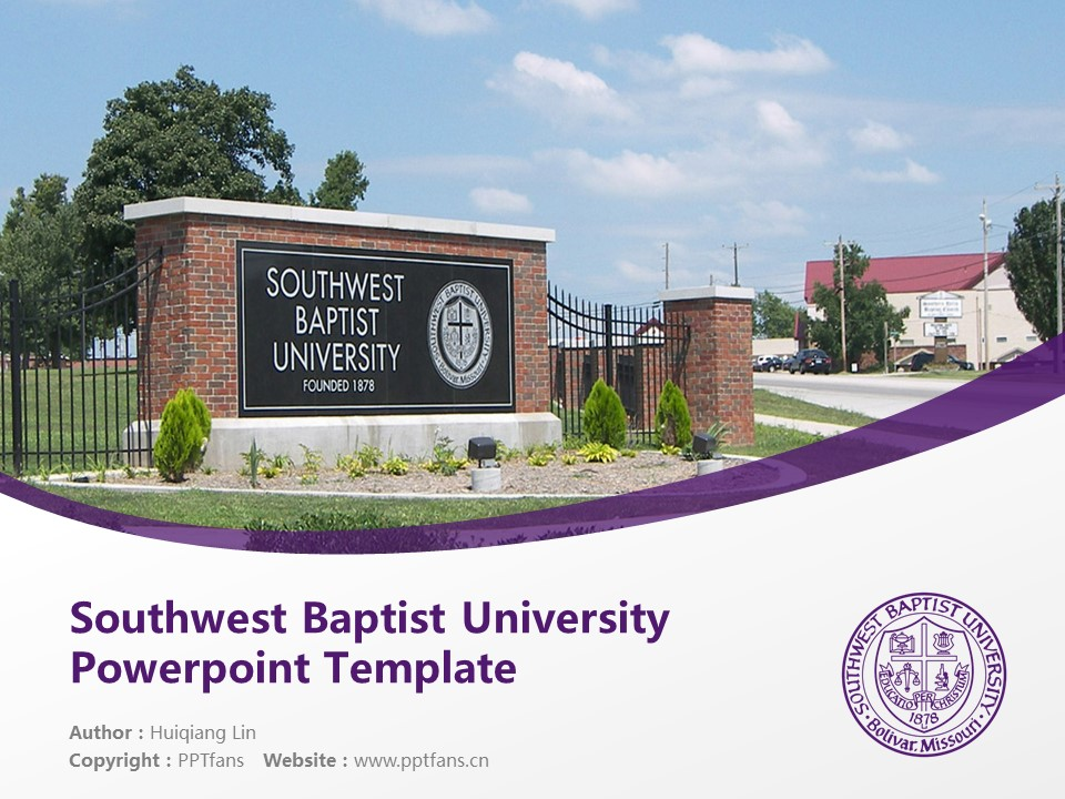 Southwest Baptist University Powerpoint Template Download | 西南浸会大学PPT模板下载_幻灯片1