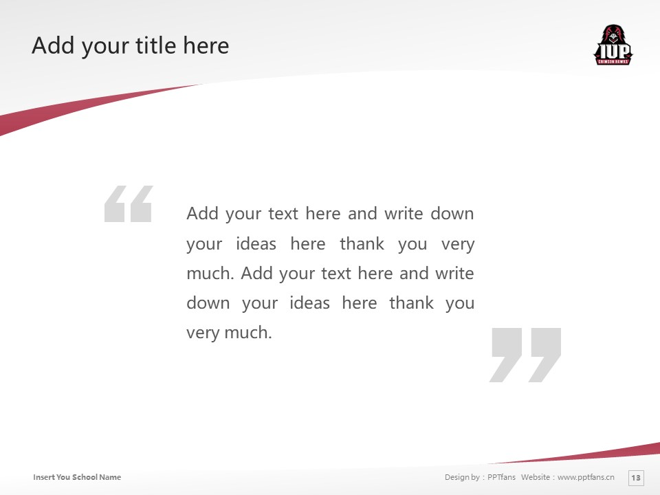 Indiana University of Pennsylvania Powerpoint Template Download | 宾州印第安那大学PPT模板下载_幻灯片13
