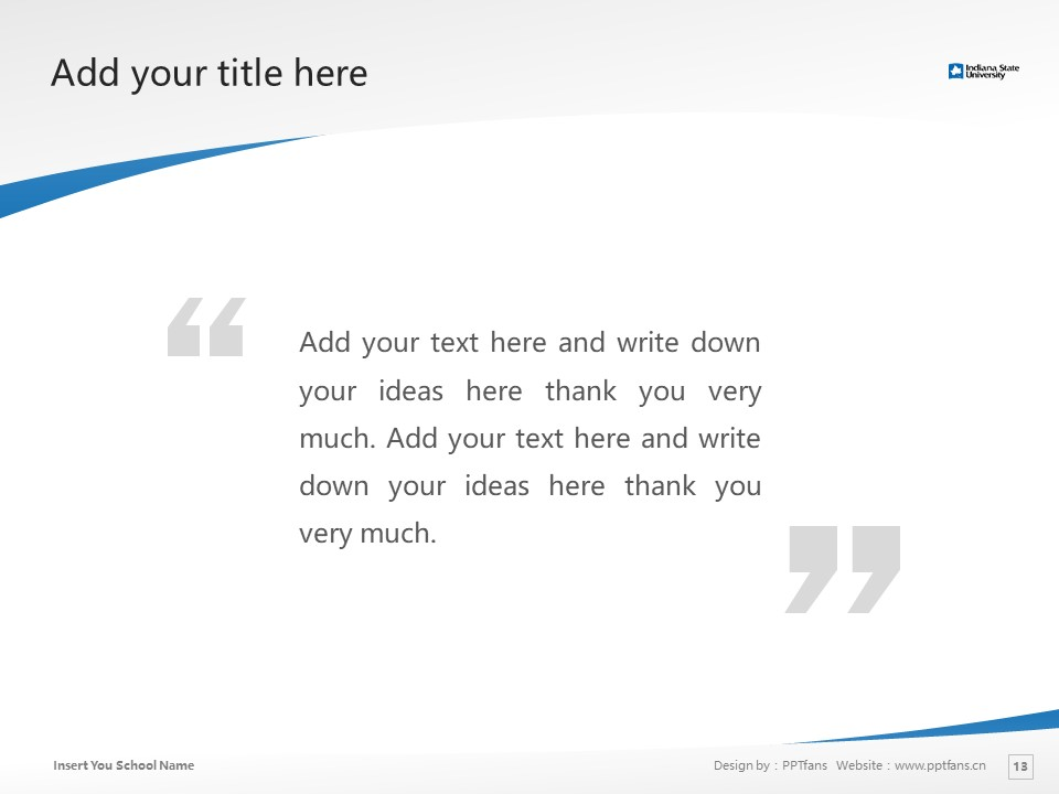 Indiana State University Powerpoint Template Download | 印第安纳州立大学PPT模板下载_slide13