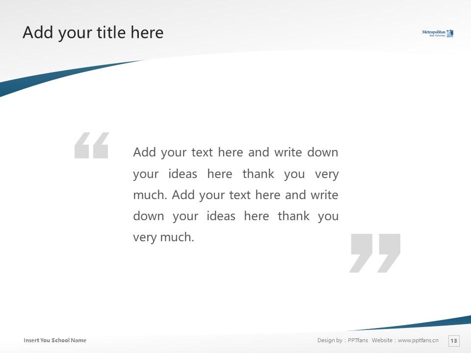 Metropolitan State University Powerpoint Template Download | 州立大都会大学PPT模板下载_幻灯片13