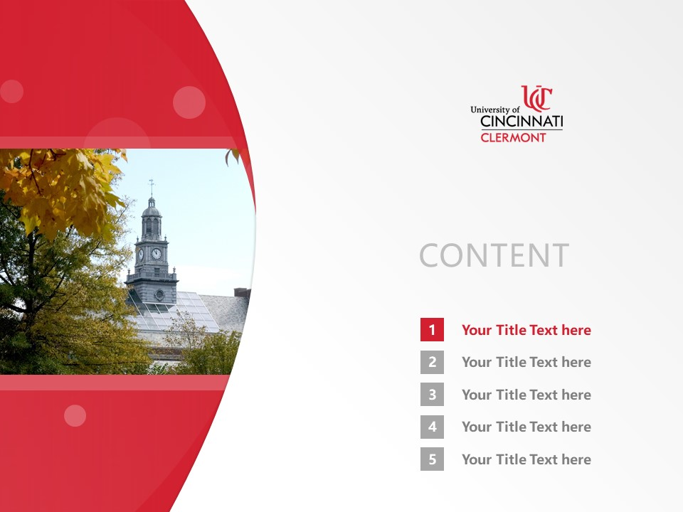 University of Cincinnati-Clermont College Powerpoint Template Download | 辛辛那提大学克莱尔芒特学院PPT模板下载_幻灯片2