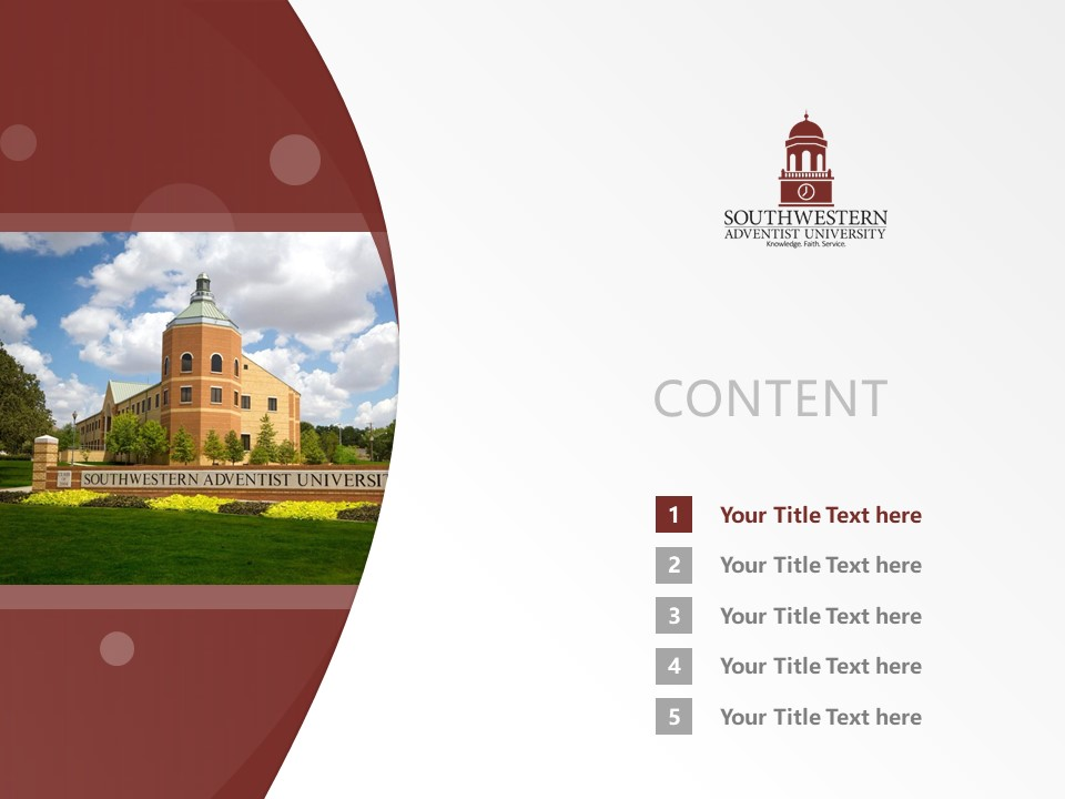 Southwestern Adventist University Powerpoint Template Download | 西南基督复临大学PPT模板下载_幻灯片2