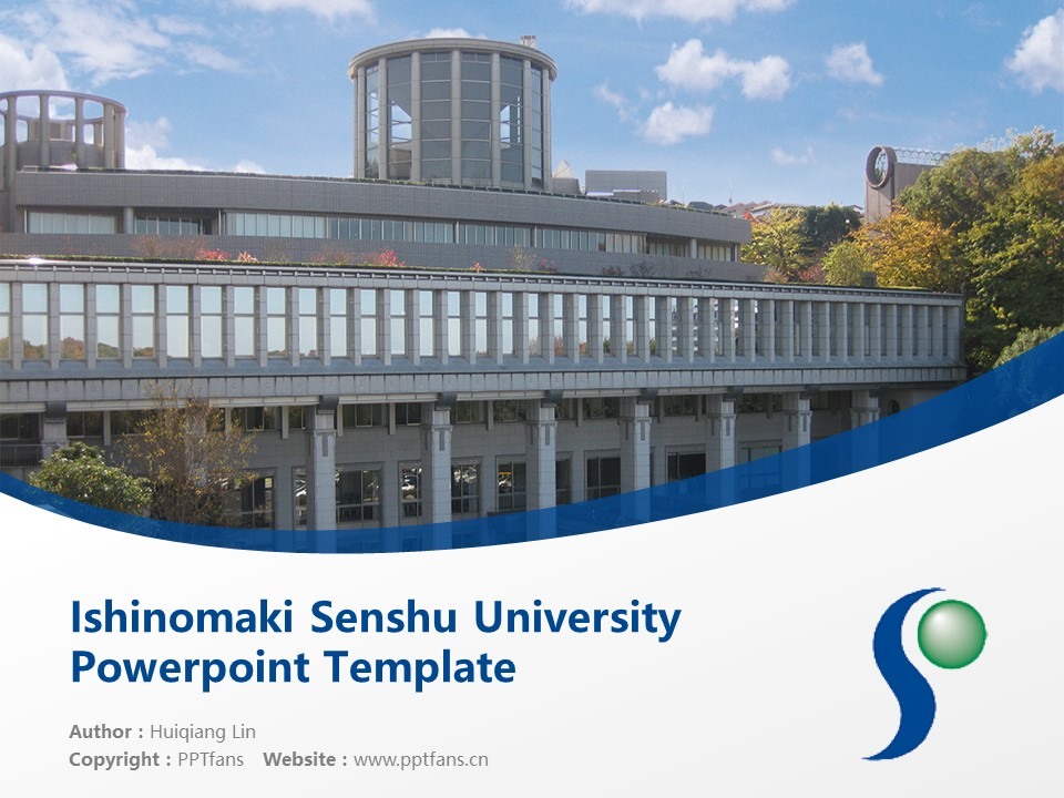 Ishinomaki Senshu University Powerpoint Template Download | 石卷专修大学PPT模板下载_slide1