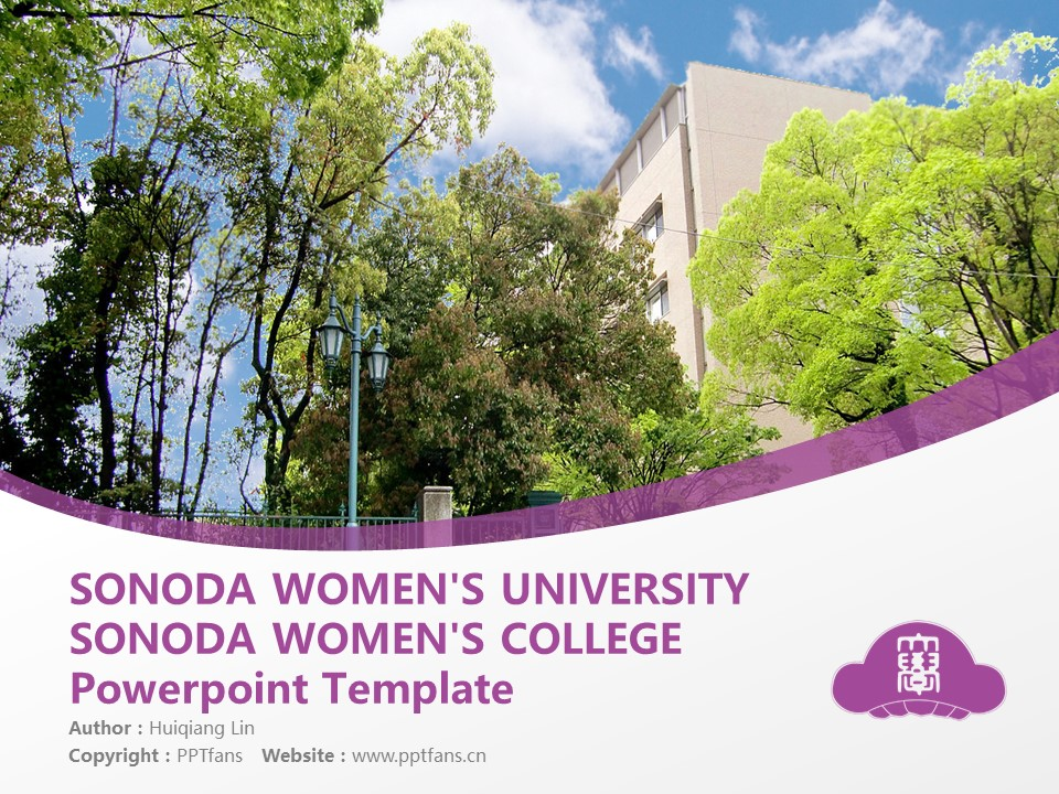 SONODA WOMEN'S UNIVERSITY SONODA WOMEN'S COLLEGE  Powerpoint Template Download | 园田学园女子大学PPT模板下载_slide1