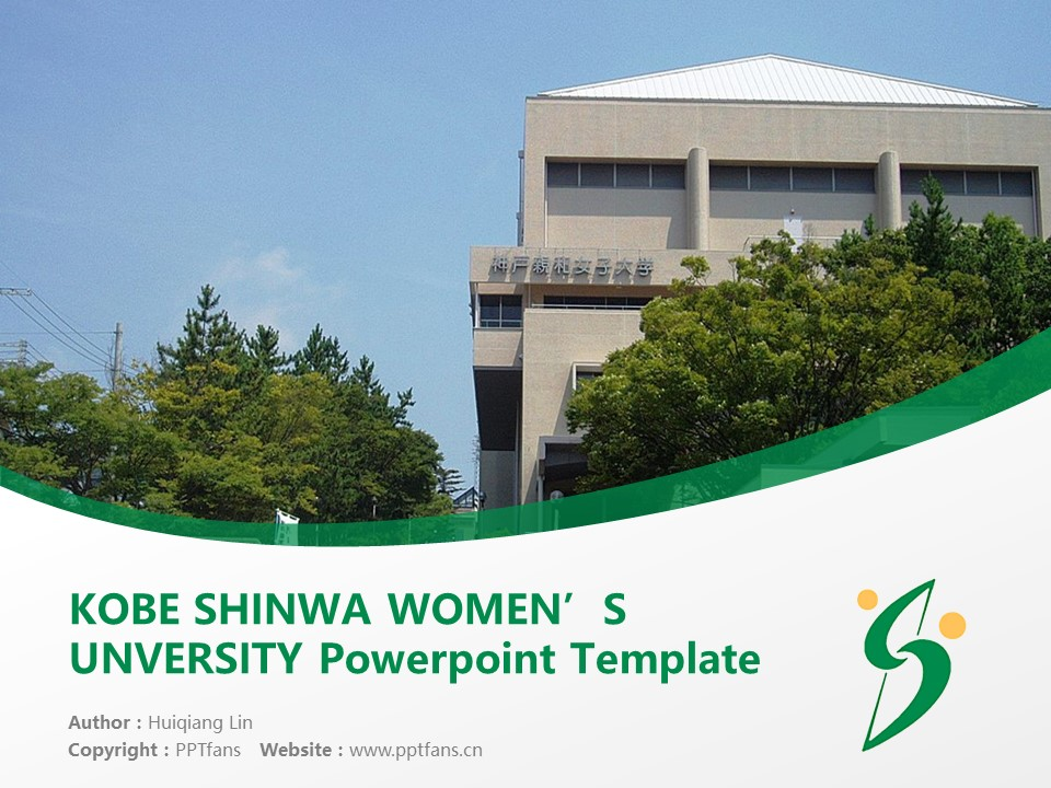 KOBE SHINWA WOMEN'S UNVERSITY Powerpoint Template Download | 神户亲和女子大学PPT模板下载_slide1