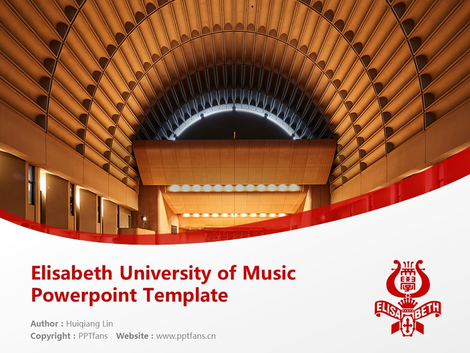 Elisabeth University of Music Powerpoint Template Download | 伊利莎白音乐大学PPT模板下载_幻灯片1