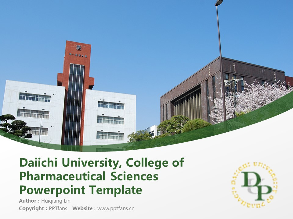 Daiichi University, College of Pharmaceutical Sciences Powerpoint Template Download | 第一药科大学PPT模板下载_幻灯片1