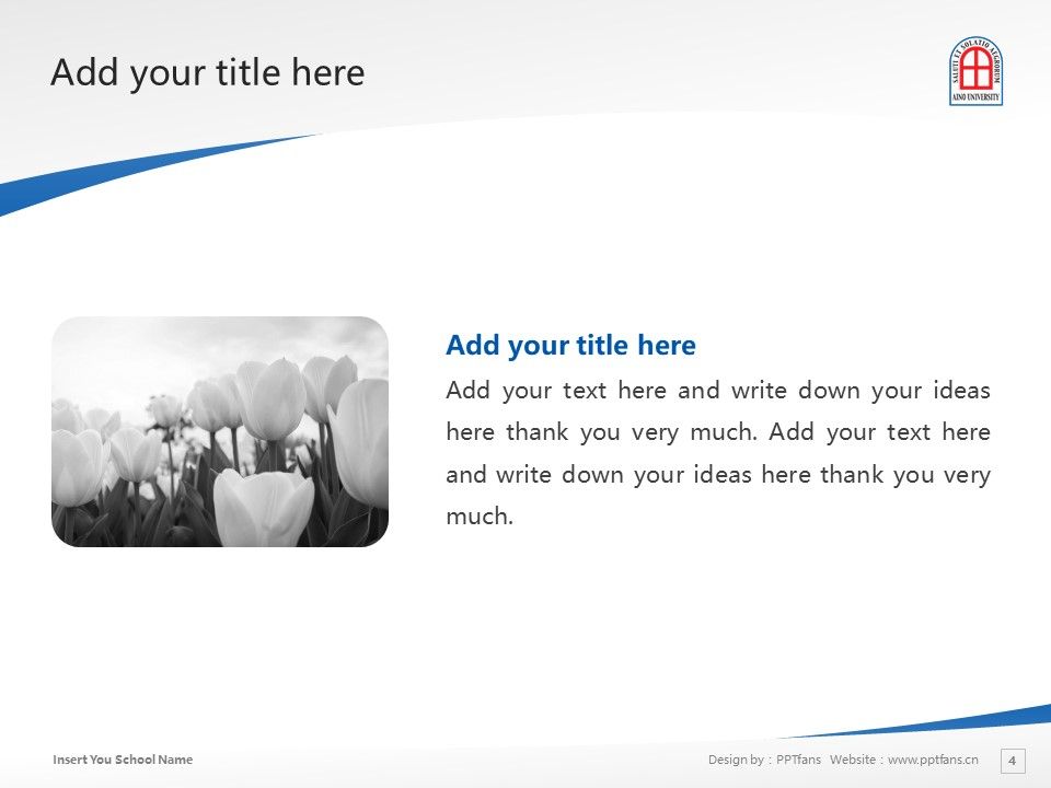 Aino University Powerpoint Template Download | 蓝野大学PPT模板下载_幻灯片4