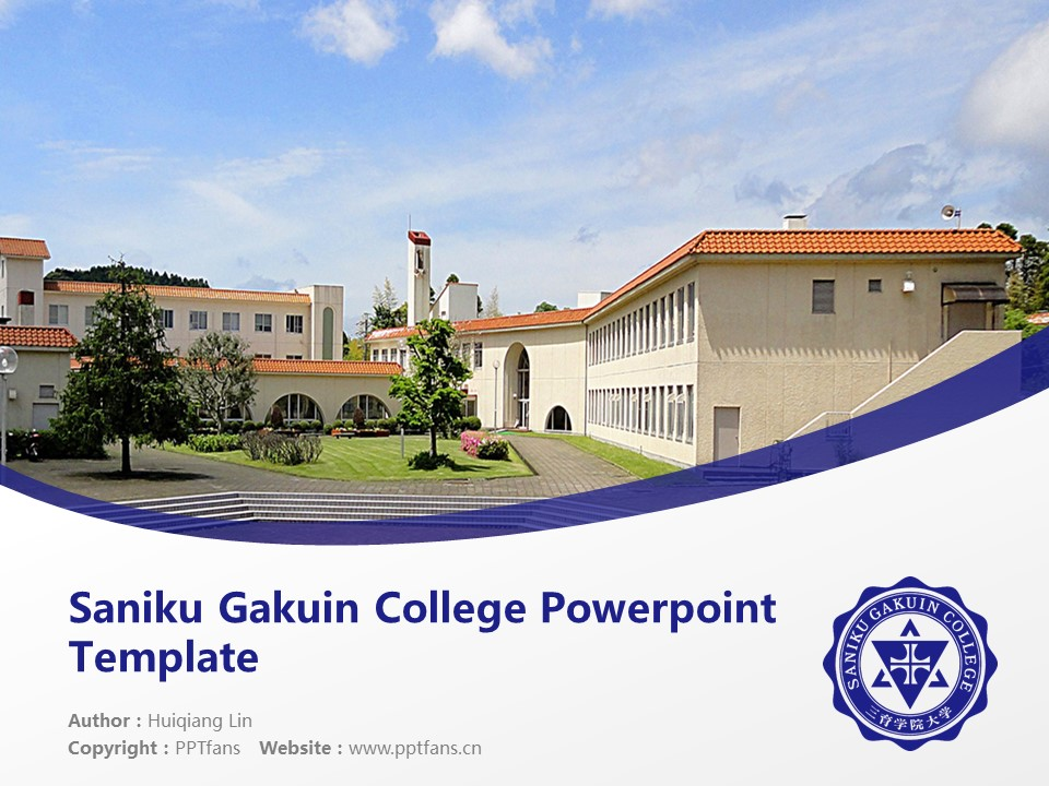 Saniku Gakuin College Powerpoint Template Download | 三育学院大学PPT模板下载_幻灯片1