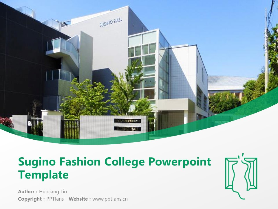 Sugino Fashion College Powerpoint Template Download | 杉野服饰大学PPT模板下载_幻灯片1