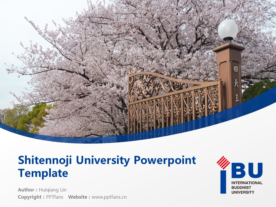 Shitennoji University Powerpoint Template Download | 四天王寺国际佛教大学PPT模板下载_slide1