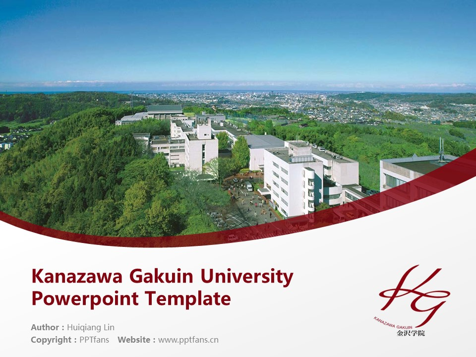 Kanazawa Gakuin University Powerpoint Template Download | 金泽学院大学PPT模板下载_幻灯片1