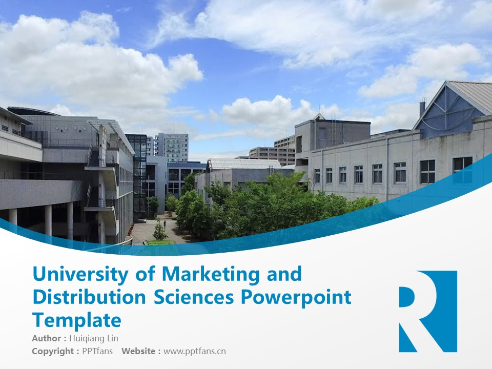 University of Marketing and Distribution Sciences Powerpoint Template Download | 流通科学大学PPT模板下载_slide1
