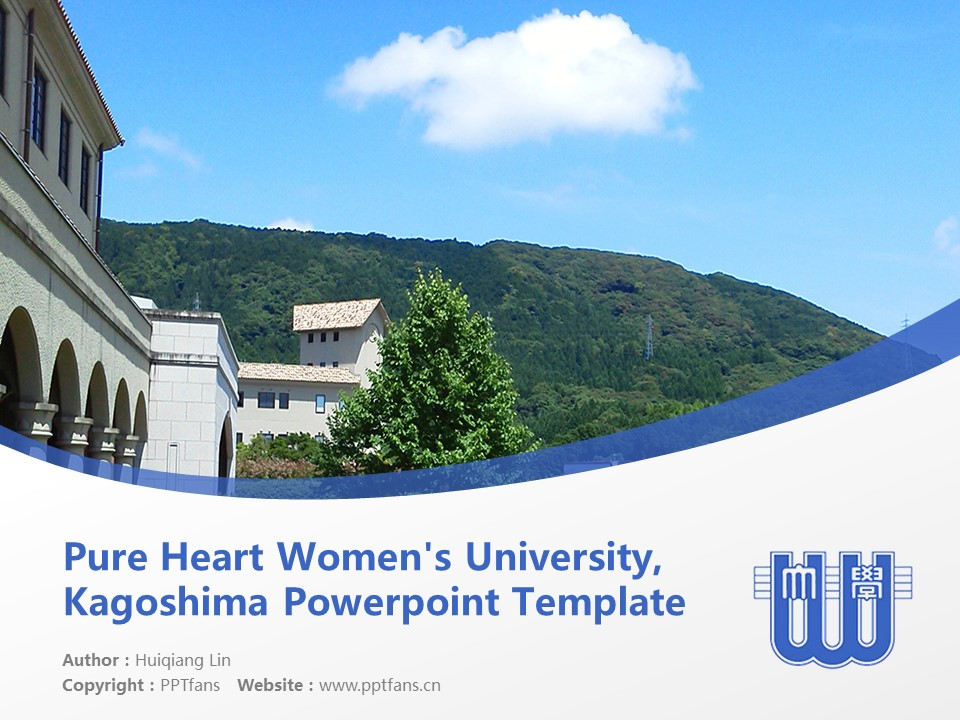 Pure Heart Women's University, Kagoshima Powerpoint Template Download | 鹿儿岛纯心女子大学PPT模板下载_幻灯片预览图1