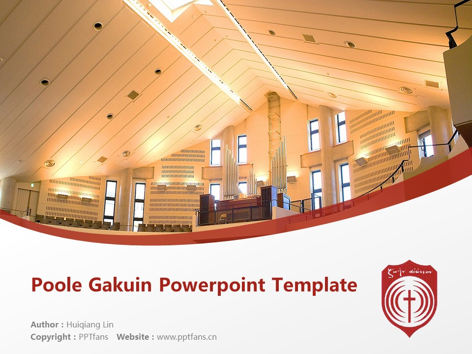 Poole Gakuin Powerpoint Template Download | 普尔学院大学PPT模板下载_slide1