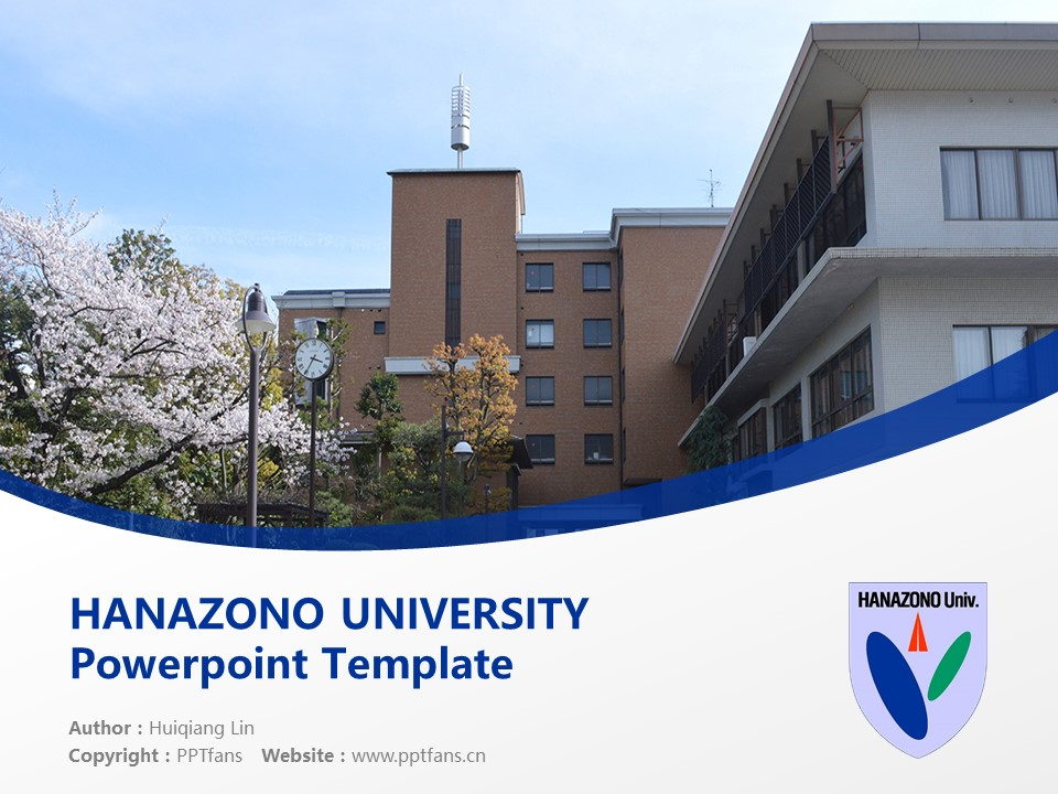 HANAZONO UNIVERSITY Powerpoint Template Download | 花园大学PPT模板下载_幻灯片预览图1