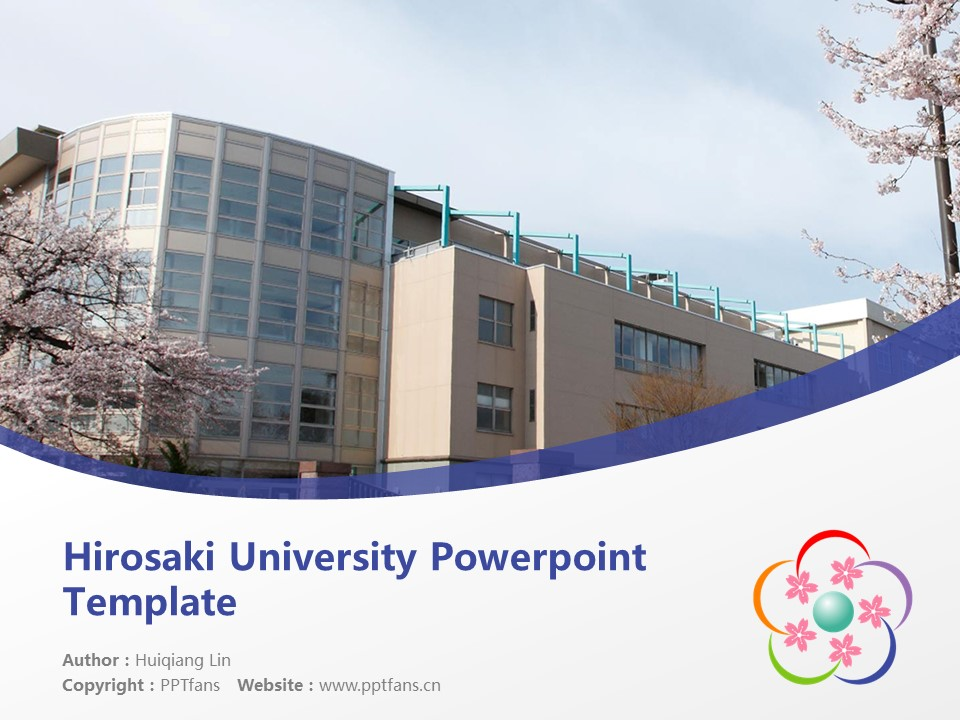 Hirosaki University Powerpoint Template Download | 弘前大学PPT模板下载_幻灯片预览图1