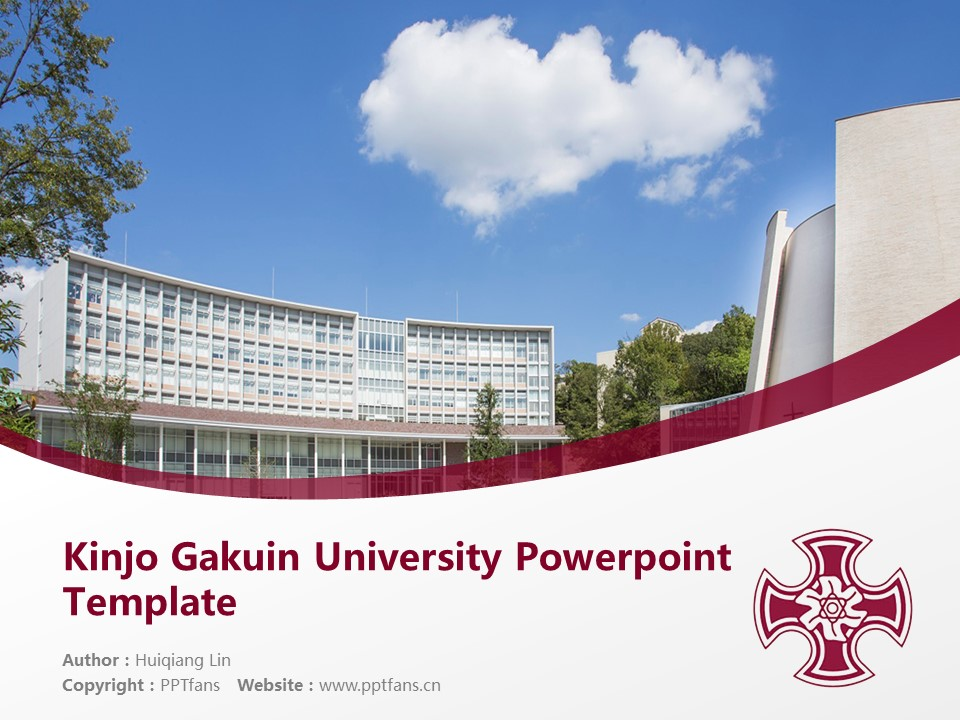 Kinjo Gakuin University Powerpoint Template Download | 金城学院大学PPT模板下载_幻灯片1