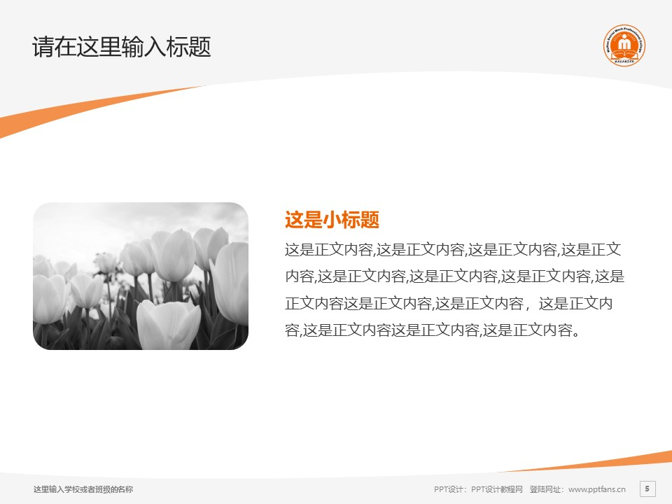 武汉民政职业学院PPT模板下载_幻灯片预览图5