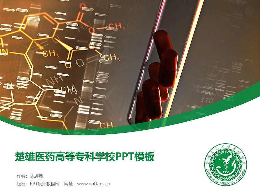 楚雄医药高等专科学校PPT模板下载_幻灯片预览图1