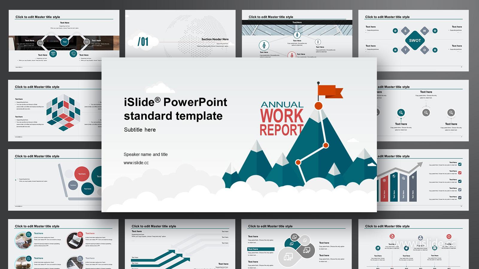 攀登雪峰可愛清新目標規劃 iSlidePPT模板下載_預覽圖1