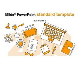 溫暖橙色手繪學習用品校園相關 PPT模板下載