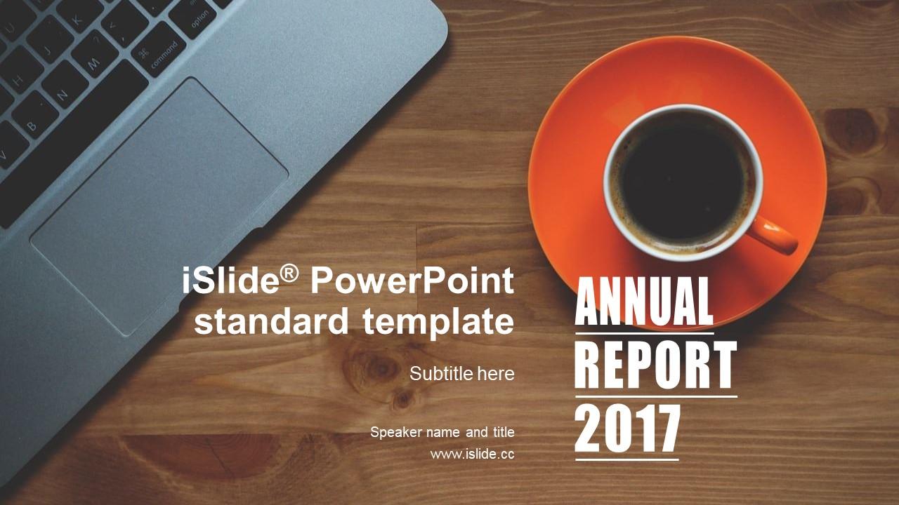办公桌上的咖啡简约商务风格项目汇报 PPT模板下载_预览图1