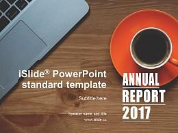 辦公桌上的咖啡簡約商務風格項目匯報 PPT模板下載