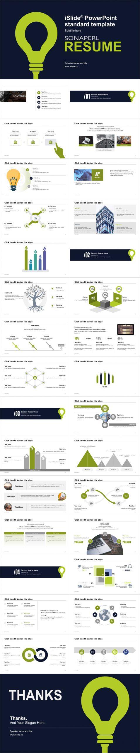 無限創意綠色燈泡論文答辯 iSlidePPT模板下載_預覽圖2