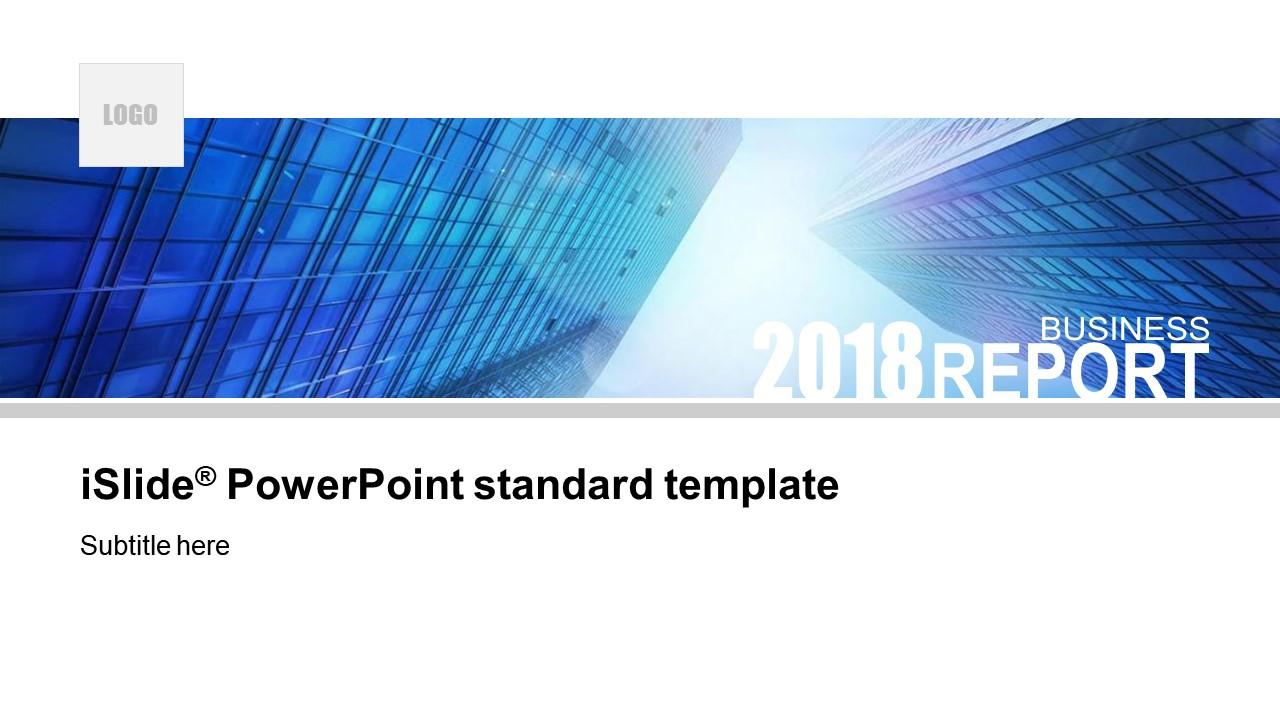 藍色的建筑簡約商務風公司簡介 PPT模板下載_預覽圖1