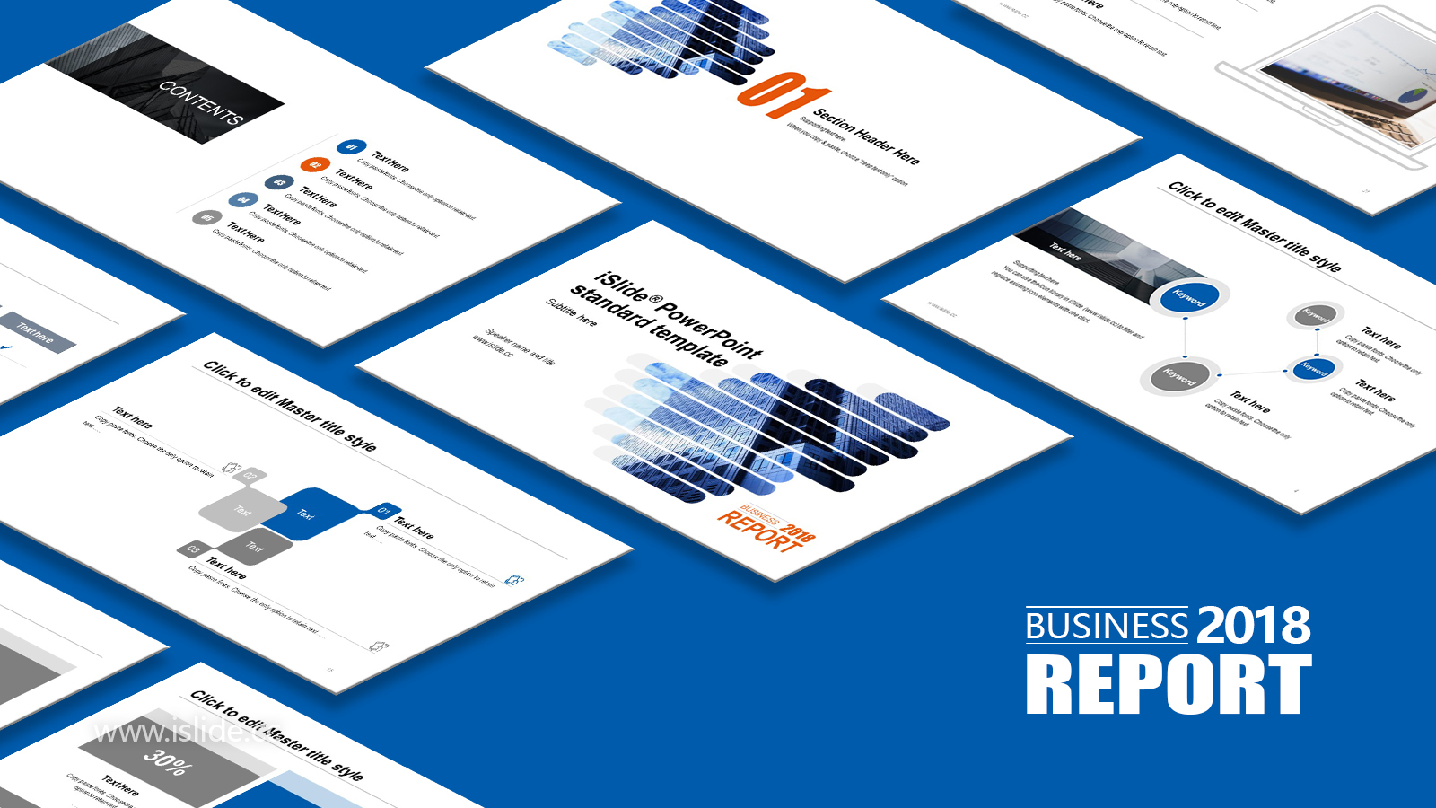 藍色大廈簡約商務風項目匯報 PPT模板下載_預覽圖1
