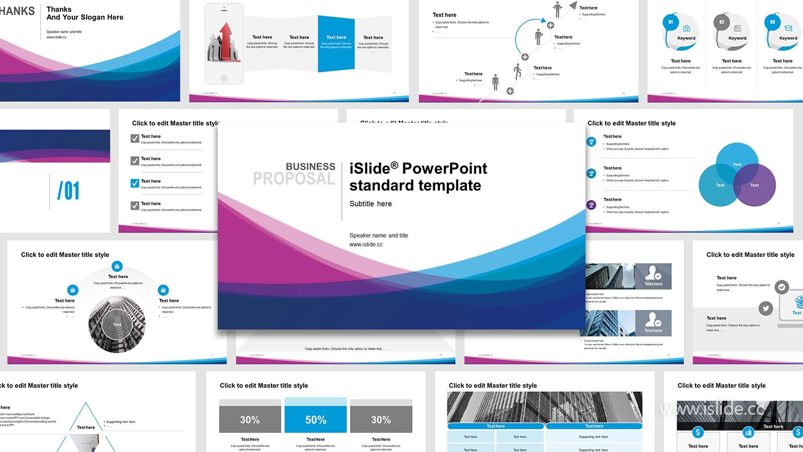蓝紫色抽象线条简洁清晰开题报告 PPT模板下载_预览图1