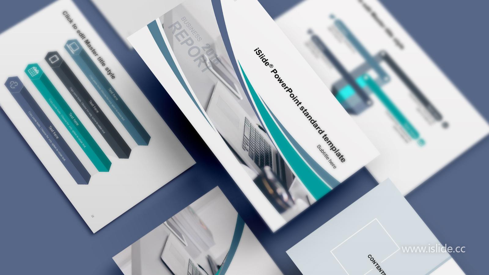 办公场景时尚商务风述职报告iSlidePPT模板下载_预览图1
