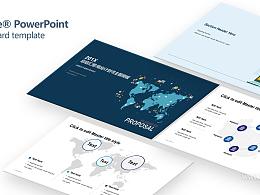 蓝色地图经济全球化总结汇报PPT模板下载
