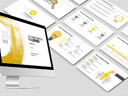 黄色简约商务风建筑行业个人述职报告 PPT模板下载