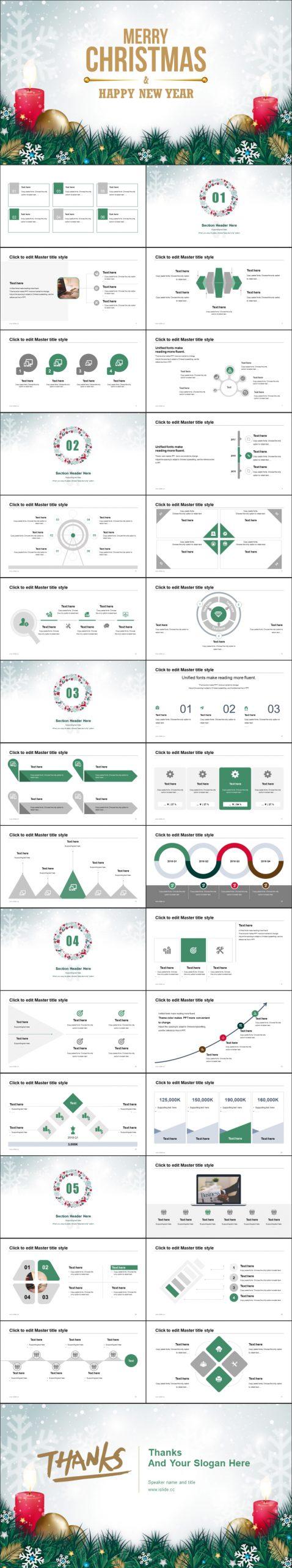 圣诞节庆典节日主题PPT模板下载_预览图2